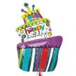 ลูกโป่งฟลอย์นำเข้า Funky Birthday Cake / Item No. AG-21937 แบรนด์ Anagram ของแท้