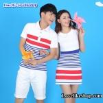 เสื้อคู่รัก ชายเสื้อคอปกสีขาวแต่งลายแดงน้ำเงิน  + หญิงเดรสคอปก สีขาว แต่งลายสีน้ำเงินแดง +พร้อมส่ง+