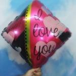 ลูกโป่งฟลอย์รูปเหลี่ยม พิมพ์ลาย I LOVE YOU ไซส์ 18 นิ้ว - I Love U square Shape Foil Balloon / Item No. TL-E061