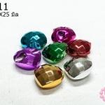 ลูกปัดพลาสติก สีเมทัลลิก คละสี หัวใจ 23X25มิล (10ชิ้น)