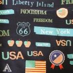 ผ้าคอตตอนลินิน ลายอเมริกา สีน้ำเงิน ผ้าเนื้อหนา นิ่ม เหมาะกับงานผ้าทุกชนิด