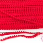 ปอมเส้นยาว (เล็ก) สีแดง กว้าง 1ซม(1หลา/90ซม)