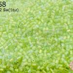 ลูกปัดจีน ปล้องสั้น สีเขียวอ่อนเหลือบรุ้ง 2X2มิล (1ถุง/450กรัม)