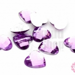 เพชรแต่ง หัวใจ สีม่วง ไม่มีรู 14มิล(10ชิ้น)