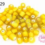 ลูกปัดแก้ว ทรงกระบอก สีเหลือง 6มิล(1ขีด/100กรัม)