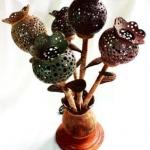 โคมไฟกะลามะพร้าวแจกันดอกไม้ Coconut Shell lamp Opium Flower 2