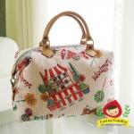 กระเป๋าผ้าญี่ปุ่น ทรงสะพายช้าง สายหนังแท้ ปรับความยาวได้ (สินค้าฝากขาย ไม่บวกเพิ่ม )
