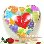 ลูกโป่งฟลอย์รูปหัวใจ สีทองพิมพ์ลาย LOVE ไซส์ 18 นิ้ว - Love Series Heart Shape Foil Balloon / Item No. TL-E008