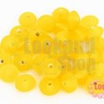 ลูกปัดแก้ว ทรงจานบิน สีเหลือง 9มิล(1ขีด/57ชิ้น)