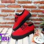 รองเท้าผ้าใบแฟชั่นเกาหลี สีแดงพื่นดำ รุ่นRO50 เบอร์36-39