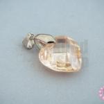 จี้หินมณีใต้น้ำ(เพชรพญานาค) หัวใจ สีน้ำตาลอ่อน 18X28มิล(1ชิ้น)