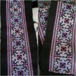 ผ้าปักมือ ผืนยาว ลายเล็ก โทนสีม่วง