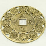 เหรียญจีน สิบสองนักษัตร สีทองเหลือง 70มิล(1ชิ้น)