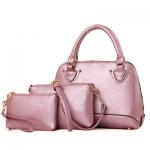 กระเป๋าแฟชั่นเกาหลีพร้อมส่ง รหัส SUIF0204PK สีชมพู เซต 3 ใบ ราคาสุดคุ้ม