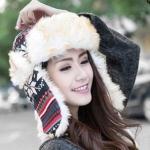 หมวกแฟชั่นเกาหลีพร้อมส่ง ปิดหูครอบหัว เอสกิโม่ปิดหูครอบหัว กันหนาวหิมะ สีดำ