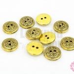 กระดุมพลาสติก สีโลหะ สีทองเหลือง 15มิล(10ชิ้น)