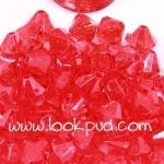 ลูกปัดคริสตัลอะคริลิค Bi-cone สีแดง 6 มิล