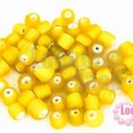 ลูกปัดแก้ว ทรงกระบอก สีเหลือง 6มิล(1ขีด/355ชิ้น)