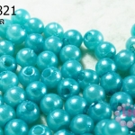 ลูกปัดมุก พลาสติก สีฟ้า 6 มิล 1 ขีด