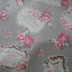 ผ้าคอตตอนลินิน ญี่ปุ่น รุ่น Vintage Collage ลายป้ายกุหลาบสีเทา