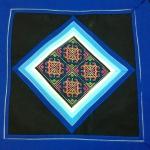 ปลอกหมอน,ปลอกหมอนอิงสีน้ำเงิน ปักลายดอกโทนสีน้ำเงินชมพู ขนาด 16X16 นิ้ว
