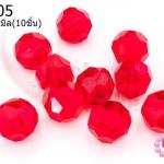 คริสตัลจีน กลมเจียรเหลี่ยม สีแดง 12มิล(10ชิ้น)