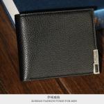 กระเป๋าสตางค์ผู้ชายพร้อมส่ง รหัส 5164 สีดำ หนังแท้ Style vintage