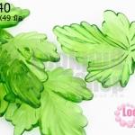 จี้ใบไม้ พลาสติก สีเขียว 38X49มิล(1ขีด/25ชิ้น)