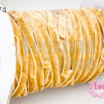 เชือกผ้า ริบบิ้นกำมะยี่ สีน้ำตาลอ่อน (1ม้วน/50หลา)