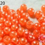 ลูกปัดมุก พลาสติก สีส้ม 6 มิล 1 ขีด