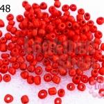 ลูกปัดจีน กลม สีแดงสดด้าน 3มิล