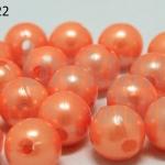 ลูกปัดมุก พลาสติก สีส้มอ่อน 10มิล 1 ขีด (206ชิ้น)