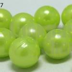 ลูกปัดมุก พลาสติก สีเขียวมะนาว 10 มิล 1 ขีด (118ชิ้น)