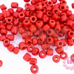 ลูกปัดจีน กลม สีแดงด้าน 4มิล