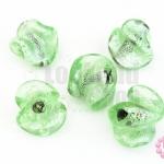 ลูกปัดแก้ว ทรงเกลียว สีเขียว 22มิล(1ขีด/14ชิ้น)