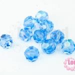 คริสตัลจีน กลมเจียรเหลี่ยม สีน้ำเงินอ่อนใสเหลือบรุ้ง 10มิล(1ชิ้น)