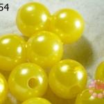 ลูกปัดมุก พลาสติก สีเหลือง 16 มิล (1ขีด/100กรัม)