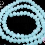 คริสตัลจีน ทรงซาลาเปา สีฟ้าอ่อนขุ่น 4มิล(1เส้น)