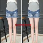 PK87001 กางเกงขาสั้นคนท้องแฟชั่นเกาหลี มีผ้าพยุงท้องเอวเลื่อนได้ตามอายุครรภ์ ผ้ายีนส์นิ่มยืดได้ใส่สบาย