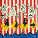 คอตตอนญี่ปุ่น ลาย Alice In Wonderland แนวเทพนิยายโทน ฟ้า - แดง ขายที่ 1/2 เมตรเป็นต้นไป เหมาะสำหรับงานผ้าทุกชนิด ตัด กระโปรง ทำกระเป๋า ปลอกหมอน และอื่นๆ