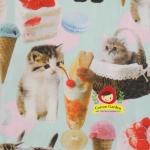 ผ้าคอตตอนลินิน ญี่ปุ่นลายน้องแมว สาวกแมวไม่ควรพลาด น่ารักมากค่ะ สีฟ้าหวาน น่ารักมาก ผ้าเนื้อหนา นิ่ม ค่ะ