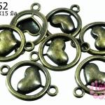 จี้วงกลมหัวใจ 2 รู ทองเหลือง ขนาด22x15 mm.