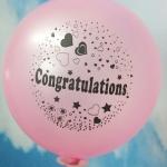 """ลูกโป่งกลมพิมพ์ลาย Congratulations ไซส์ 12 นิ้ว แพ็คละ 10 ใบ สีชมพูอ่อน (Round Balloons 12"""" - Printing Congratulations latex balloons Light Pink color)"""
