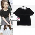 เสื้อแฟชั่นผ้าฮานาโกะ เสื้อทำงาน สีดำ คอและแขนเป็นหยักๆ สวยหวาน สินค้าคุณภาพ ราคาไม่แพง