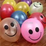 """ลูกโป่งกลมพิมพ์ลายหน้ายิ้ม ไซส์ 12 นิ้ว แพ็คละ 10 ใบ คละสี (Round Balloons 12"""" - Printing Smiley latex balloons Mixed color)"""