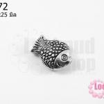 จี้ปลา ชุบเงินสีโรเดียม 15x25 มิล
