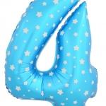 """ลูกโป่งฟอยล์รูปตัวเลข 4 สีฟ้าพิมพ์ลายดาว ไซส์จัมโบ้ 40 นิ้ว - Number 4 Shape Foil Balloon Size 40"""" Blue Color printing Star"""