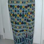 กางเกงผ้าปักอิวเมี่ยน ลายปักโบราณ โทนสีขาว แซมเหลืองเขียว สีสันสดใส