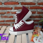 รองเท้าผ้าใบแฟชั่นเกาหลี สีแดงเลือดหมู รุ่นX-06 เบอร์36-40