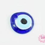 ลูกปัดลูกตา แบน สีน้ำเงิน 42x41มิล รู 5มิล